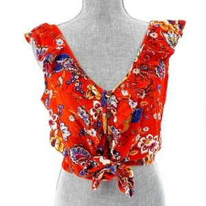 Altar'd State Floral Ruffle Button Crop Top Medium